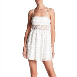Jay Godfrey White Lace Appliqué Sheer Mini Dress